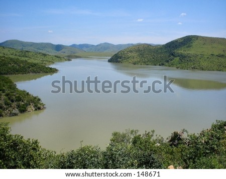 View of dam - stock photo
