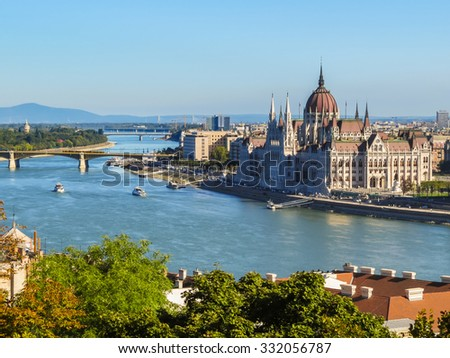 View of Danube River and Hungarian Parliament Building, Budapest, Hungary - stock photo