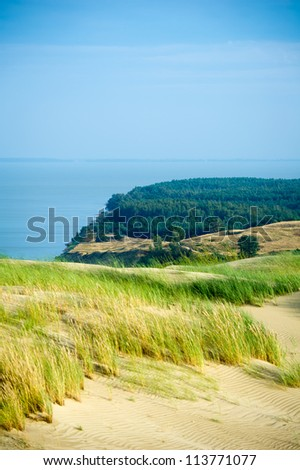 View of Dead Dunes, Curonian Spit and Curonian Lagoon, Nagliai, Nida, Klaipeda, Lithuania. Baltic Dunes.Unesco heritage. - stock photo