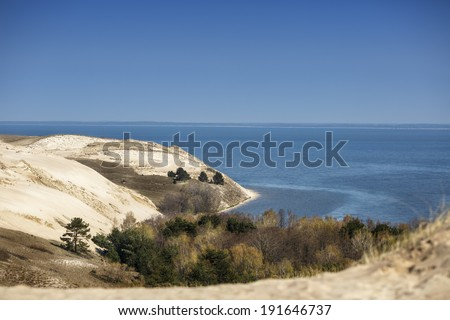View of Dead Dunes, Curonian Spit, Lithuania - stock photo