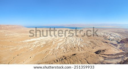 View of Dead Sea and Moab Mountains from the Masada fortress, Israel - stock photo