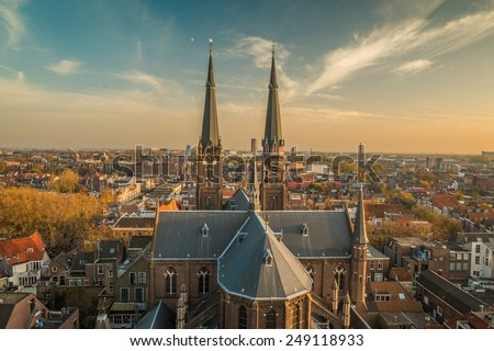 View of Delft from the cathedral Tower - stock photo