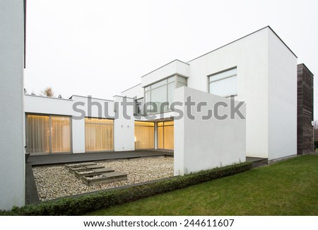 View of designed terrace in modern residence - stock photo