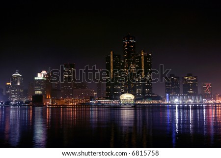 view of Detroit skyline at night, Michigan - stock photo