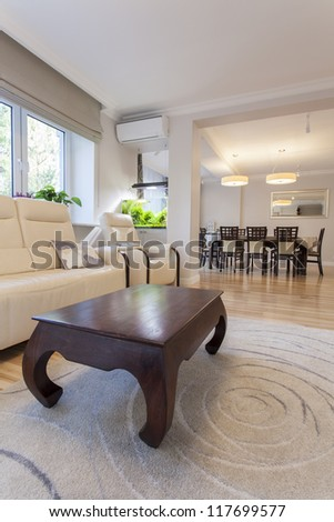 View of dining room from living room - stock photo