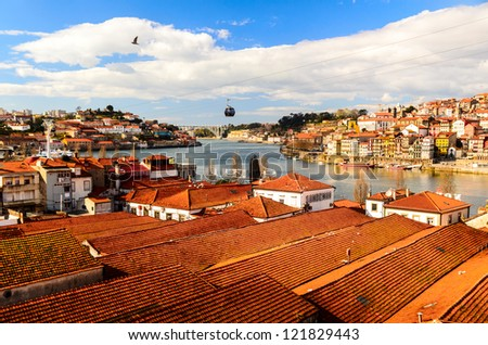 view of Douro river at Porto, Portugal - stock photo