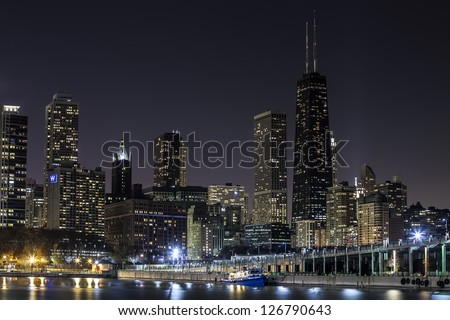 View of Downtown Chicago and River at Night - stock photo