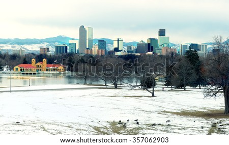 View of downtown Denver evening the lake and geese in the foreground, Colorado, USA - stock photo