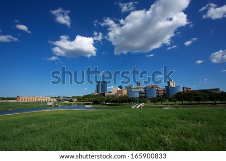 View of Downtown Fort Worth from the Trinity River - stock photo