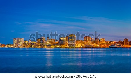 View of downtown Halifax from Dartmouth with the waterfront, Purdy's Wharf and other modern towers. Halifax, Nuova Scotia, Canada. - stock photo