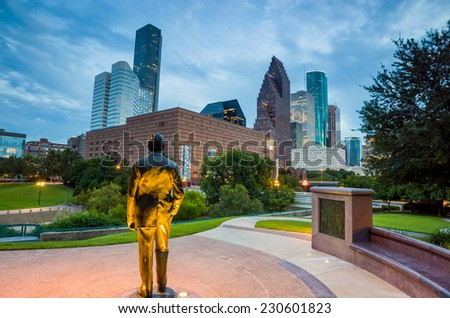 View of downtown Houston,Texas at twilight with skyscraper - stock photo