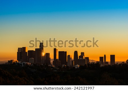 View of Downtown Los Angeles from Elysian Park at sunset - stock photo