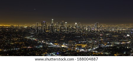 View of Downtown Los Angeles from the Hollywood Hills.  - stock photo