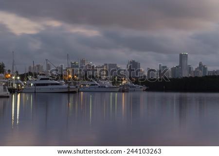 View of downtown Miami, Florida, USA at dusk - stock photo
