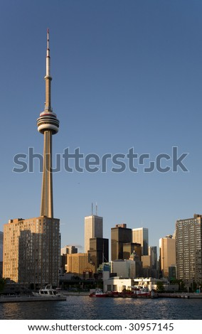 View of downtown Toronto and CN Tower from the lake Ontario - stock photo