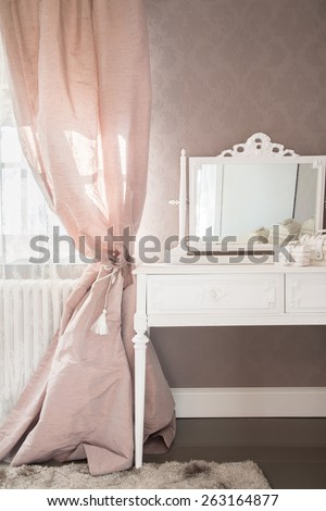 View of dressing table in a bedroom - stock photo