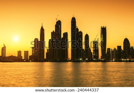 View of Dubai at sunrise, UAE - stock photo