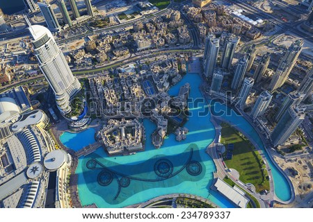 View of Dubai city from the top of a tower. - stock photo