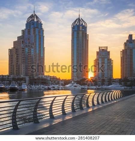 View of Dubai marina at sunrise, UAE - stock photo