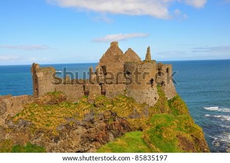View of Dunluce Castle, County Antrim - Ireland - stock photo