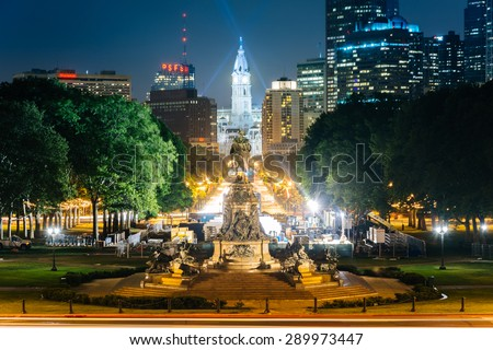 View of Eakins Oval and Center City at night, in Philadelphia, Pennsylvania. - stock photo