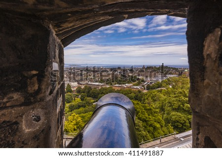 View of Edinburgh from Edinburgh Castle, Scotland - stock photo