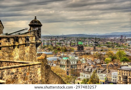 View of Edinburgh from the Castle - Great Britain - stock photo