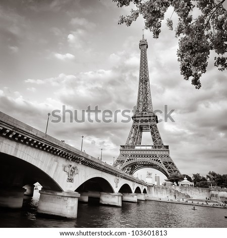 View of Eiffel tower and bridge in square monochrome style - stock photo