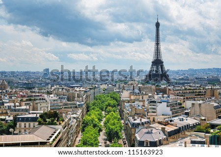 View of Eiffel Tower from the Arch of Triumph. - stock photo