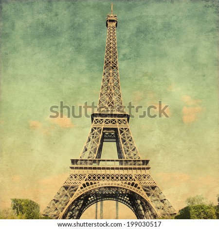 View of  Eiffel Tower.Grunge style photo. - stock photo