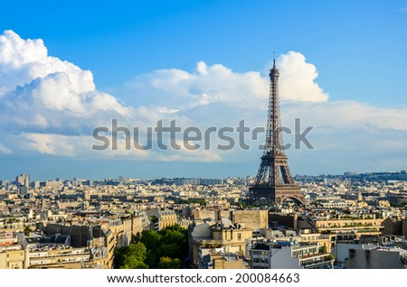 View of Eiffel Tower, Paris, France  - stock photo