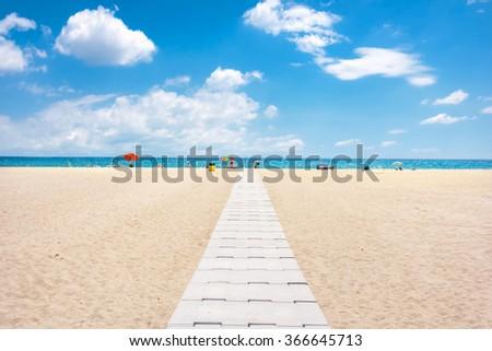 View of Empuriabrava beach, Costa Brava, Spain - stock photo