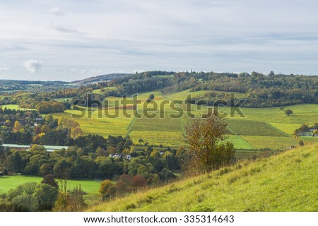 View of English countryside in the fall colors, North Downs in Surrey - stock photo