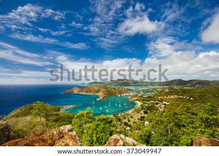 View of English Harbor in Antigua from Shirley Heights - stock photo