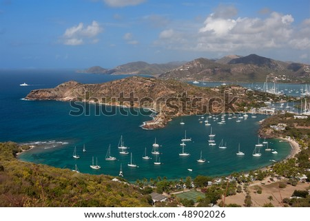 View of English Harbour from Shirley Heights, Antigua - stock photo