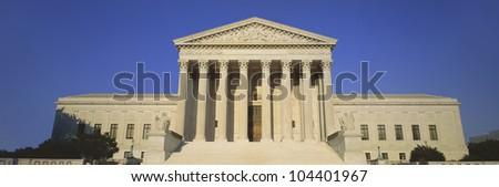 View of entire US Supreme Court Building, Washington DC - stock photo