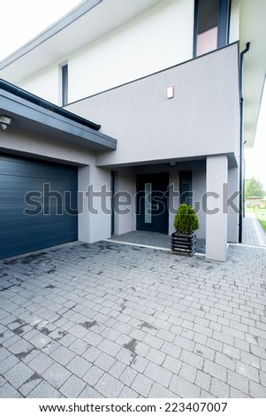View of entrance to the modern house - stock photo