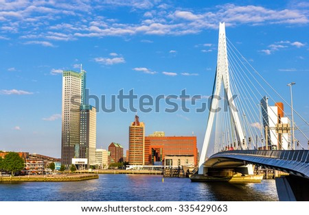 View of Erasmus Bridge in Rotterdam, Netherlands - stock photo