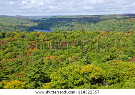 View of Fall Colors from Dorset Tower - stock photo