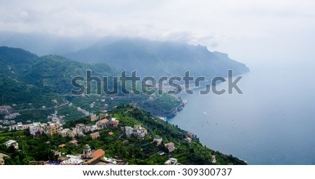 view of famous amalfi coast taken from the garden of famous vila rufolo in italian city ravello. - stock photo