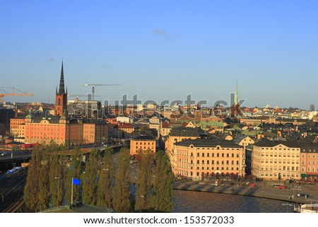 View of famous Gamla Stan, Stockholm Sweden - stock photo