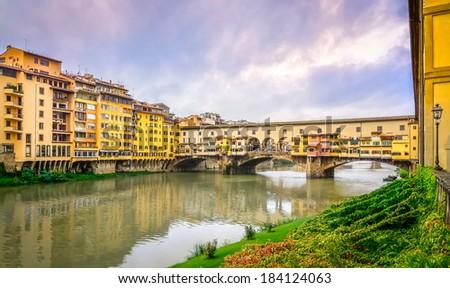 View of famous Ponte Vecchio bridge in Florence, Italy - stock photo