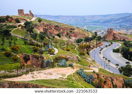 View of Fez City from the viewpoint in the evening - stock photo