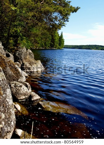 View of Finnish lake in summer - stock photo