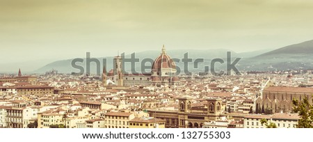 View of Firenze Skyline with vintage colors. Italy. - stock photo