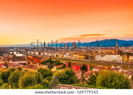 View of Florence, Tuscany, Italy. - stock photo