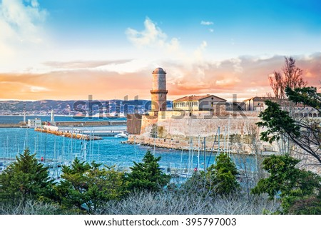 View of Fort Saint Jean and Vieux Port at sunset, Marseille, Provence, France - stock photo