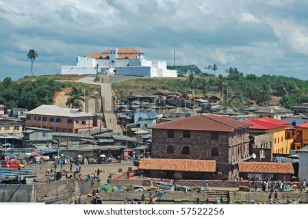 View of Fort St Jago from Elmina castle in Ghana - stock photo