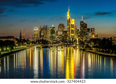 View of Frankfurt am Main skyline at sunset in Germany - stock photo