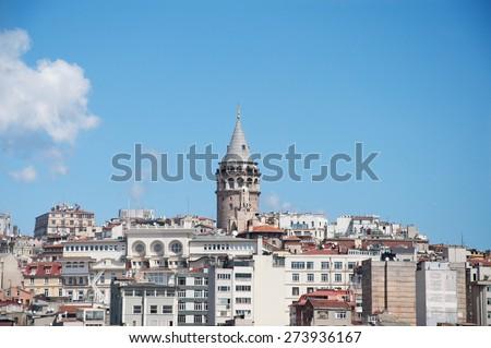 View of galata district and Glata Tower - Galata Kulesi, Istanbul, Turkey - stock photo